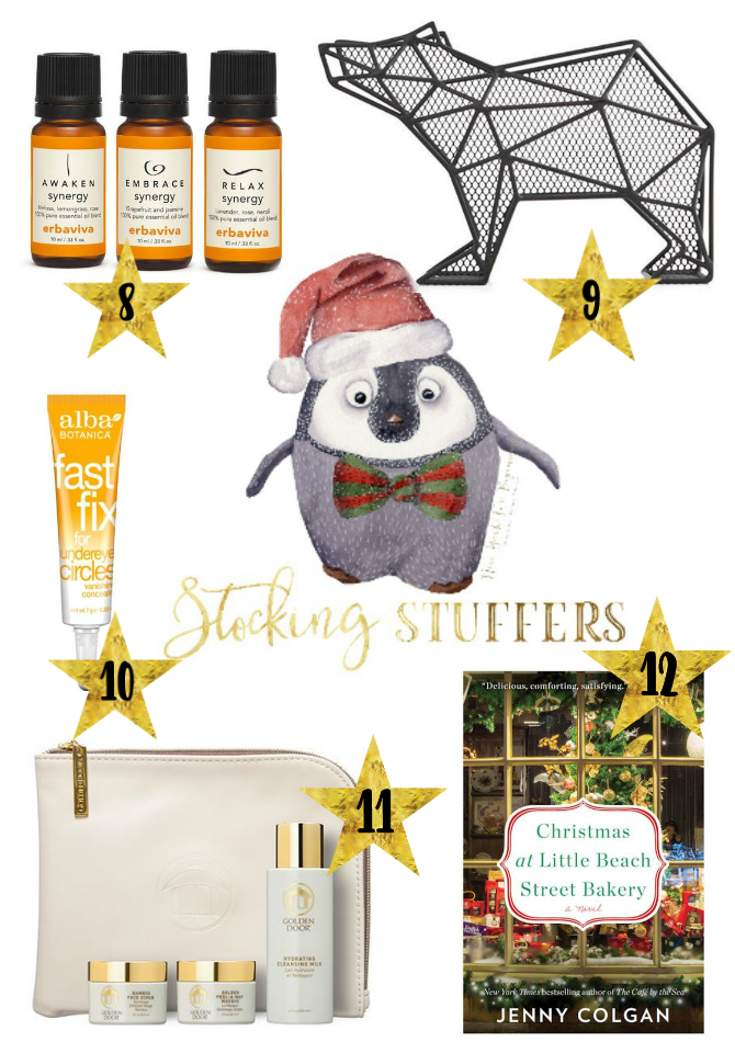 holiday gift ideas under 25 dollars including essential oils, beauty products, a bear organizer and a book