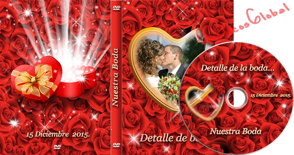 DVD portada color rosas plantilla psd