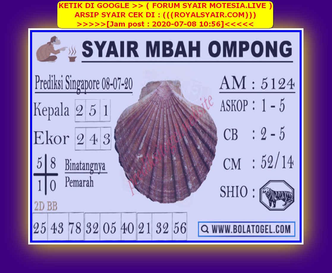 Kode syair Singapore Rabu 8 Juli 2020 129