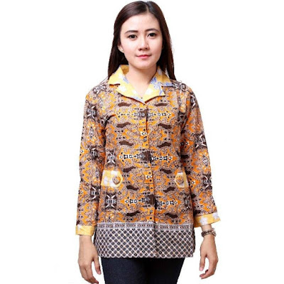 Desain Baju Batik Modern Lengan Panjang