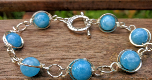 "Blue Quartz Framed Bracelet, ""Uranus Dance"""
