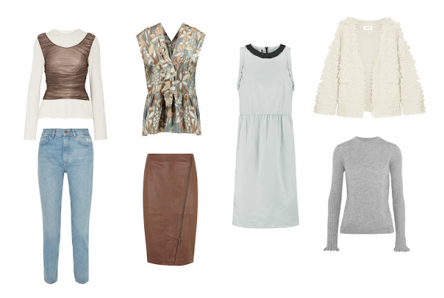 Капсульный гардероб белый, серый, кремовый, коричневый, голубой