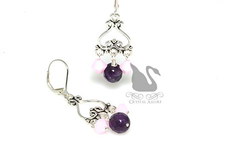 Sweet Romance Pink Crystal Amethyst Gemstone Heart Earrings (E294)