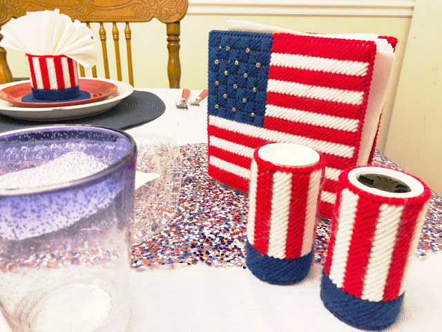 Red, White, and Blue Plastic Canvas Table Set