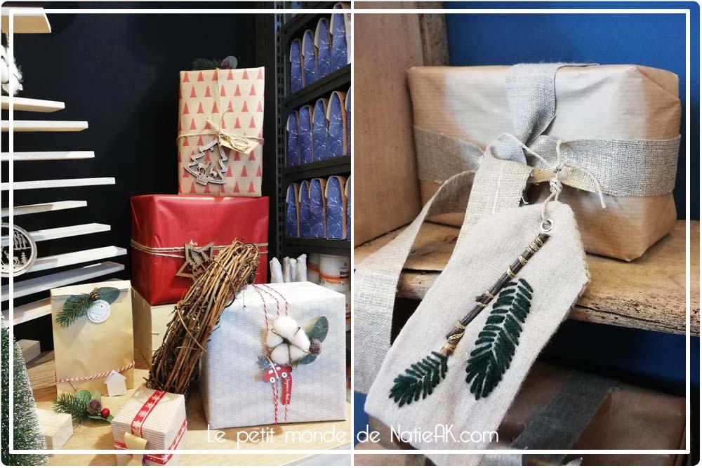 déco bois et fleur de coton et étiquette brodée de Noël