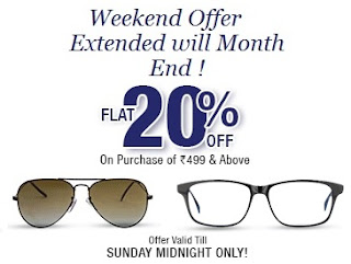 Lenskart: Enjoy Flat 20% Discount on Purchase of Sunglasses or Eyeglasses worth Min Rs.499 or above (Valid till 30th June'13)