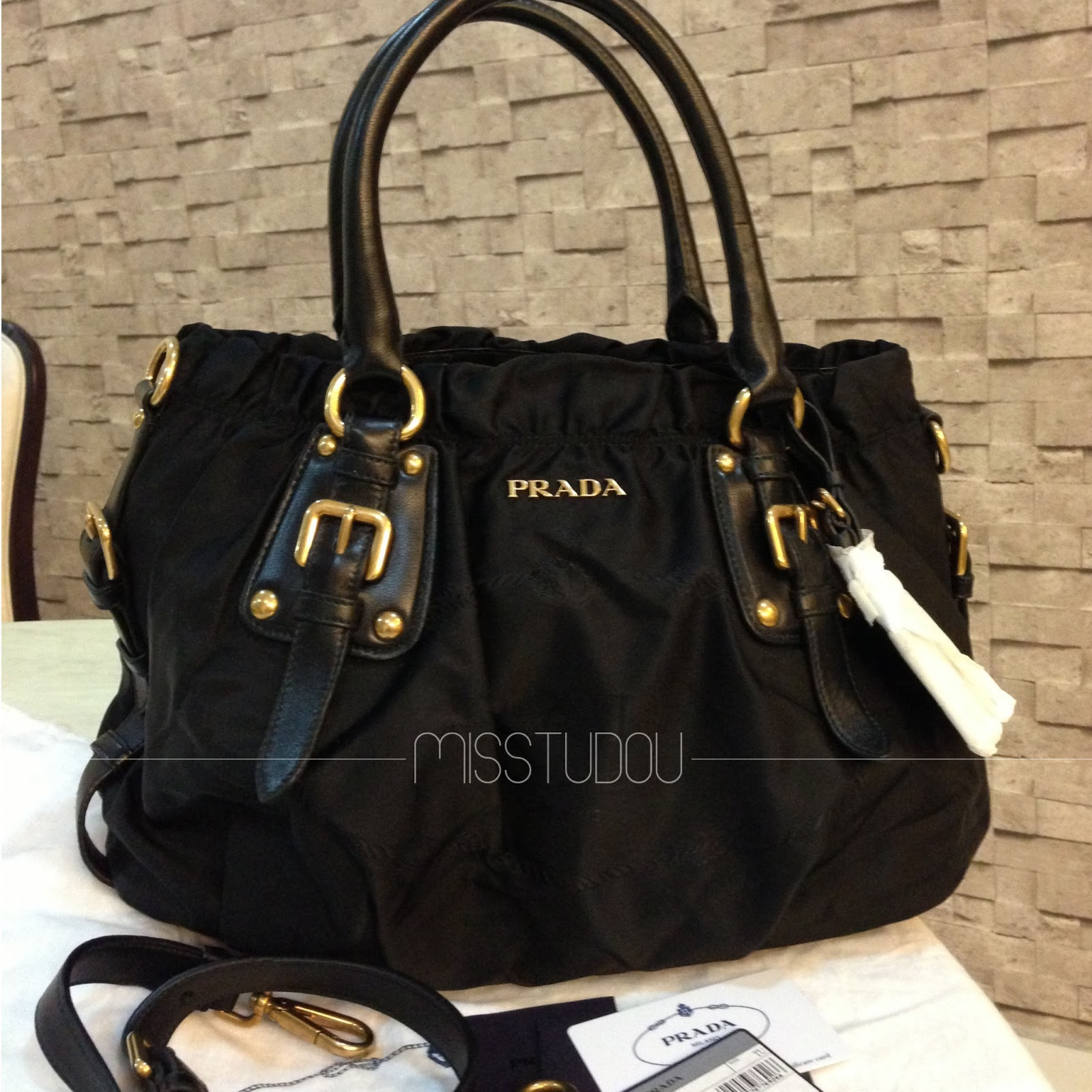 409adf615a43 shop prada nylon jacquard top handle tote br4259 10dc5 3acf9