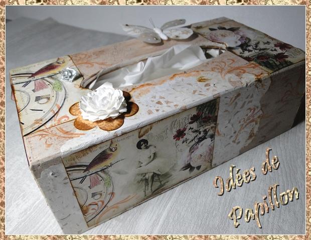 Id es de papillon boite mouchoir en bois d cor e for Decorer une boite a mouchoirs en bois