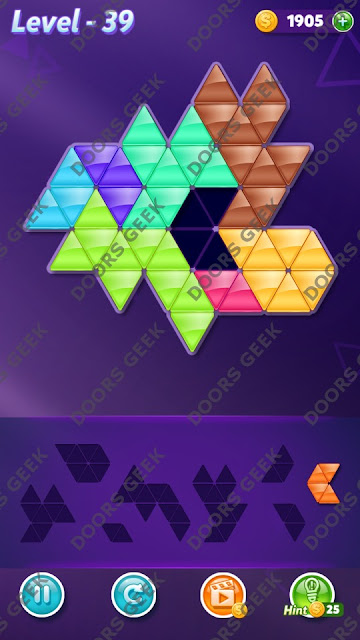 Block! Triangle Puzzle 8 Mania Level 39 Solution, Cheats, Walkthrough for Android, iPhone, iPad and iPod