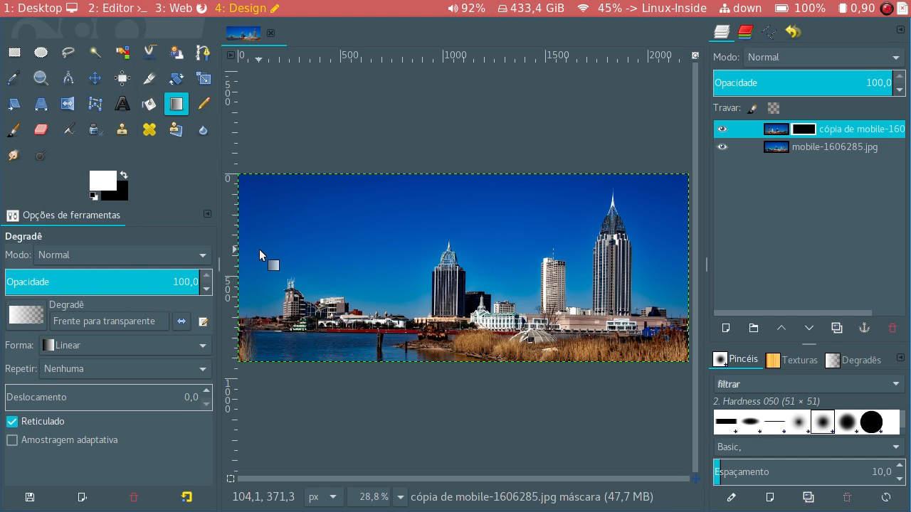 Aplicando o gradiente na imagem