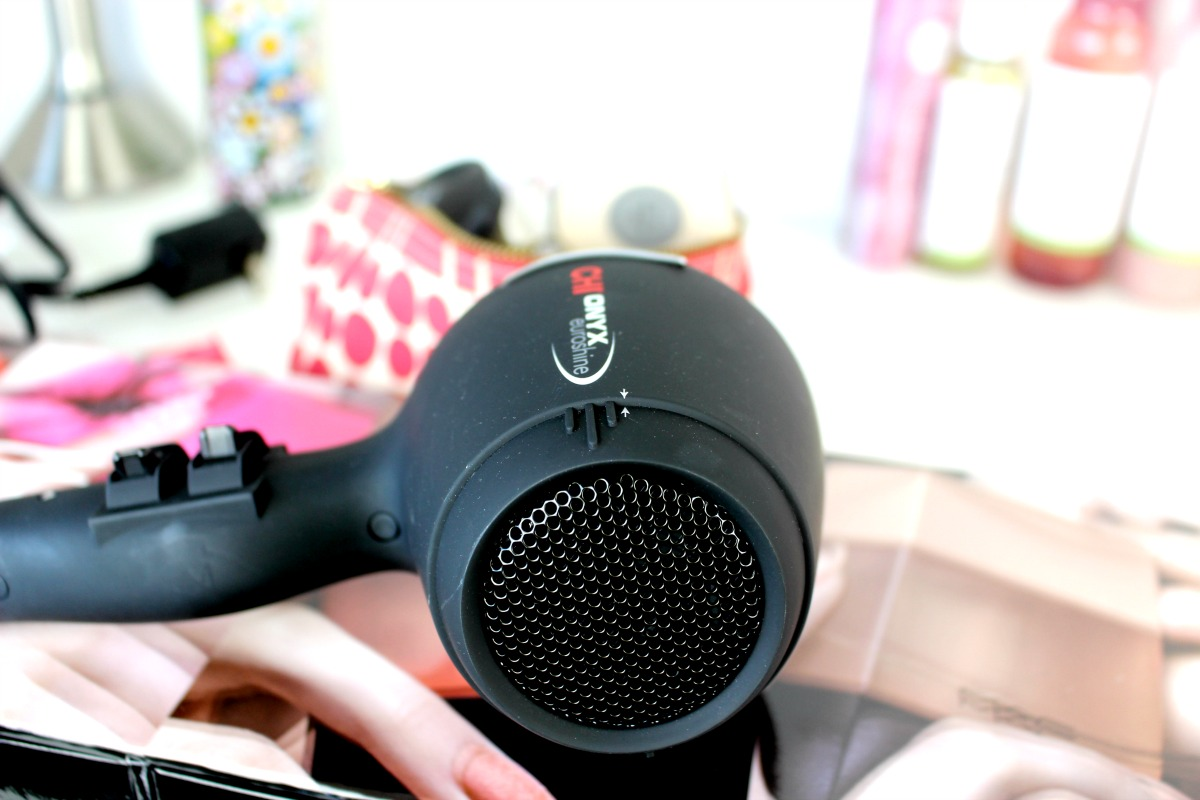 This is a close up of the Chi Onyx Euroshine Blowdryer on my office table.
