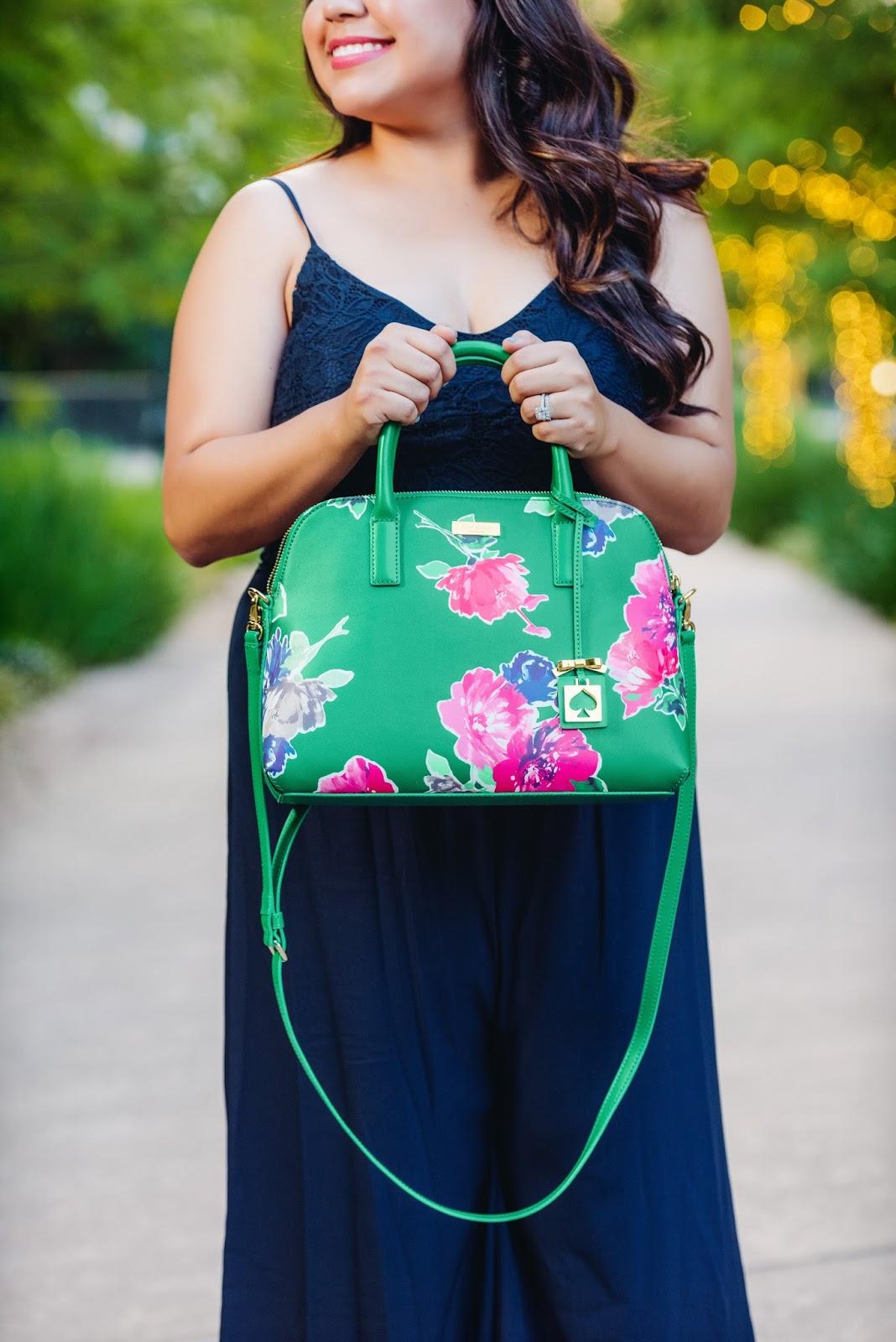 floral green bag
