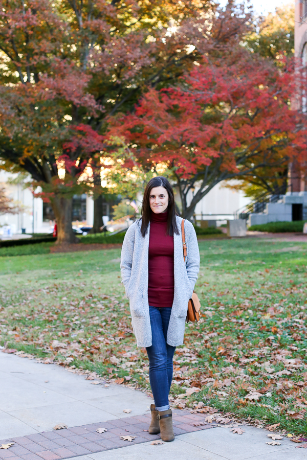 Naturally Me, Fall Outfit Idea, How to Wear a Long Cardigan, Zaful Long Cardigan, Grey Cardigan, Express Booties, Turtleneck, Target Turtleneck