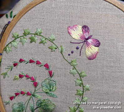 Embroider butterfly in variegated embroidery threads (Project: Herbier)
