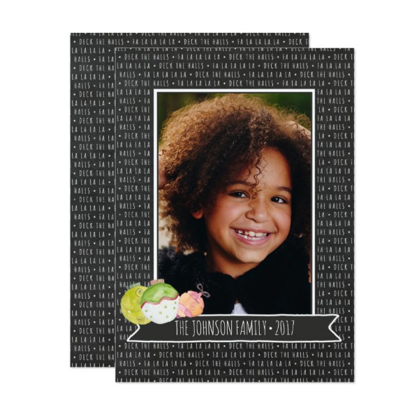 Chalkboard Deck the Halls Holiday Photo Cards by The Spotted Olive for Zazzle