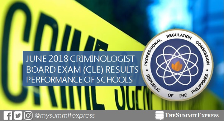 PERFORMANCE OF SCHOOLS: June 2018 Criminologist board exam CLE result