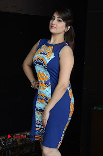 Actress Anchor Manjusha Pictures in Blue Short Dress at Jaguar Movie Success Meet .COM 0010.jpg