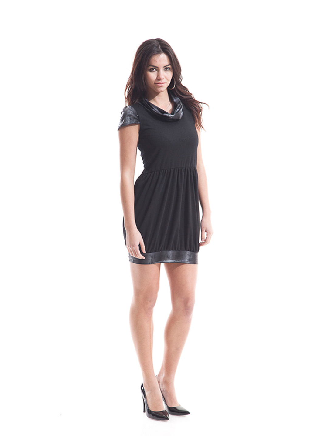 A sophisticated high bun that leaves the side bangs unattended looks great with this apparel that has a sexy embellishment over the soft comforting fabric of this Sexy Tight Short Dresses along with your sexy metallic high heels.