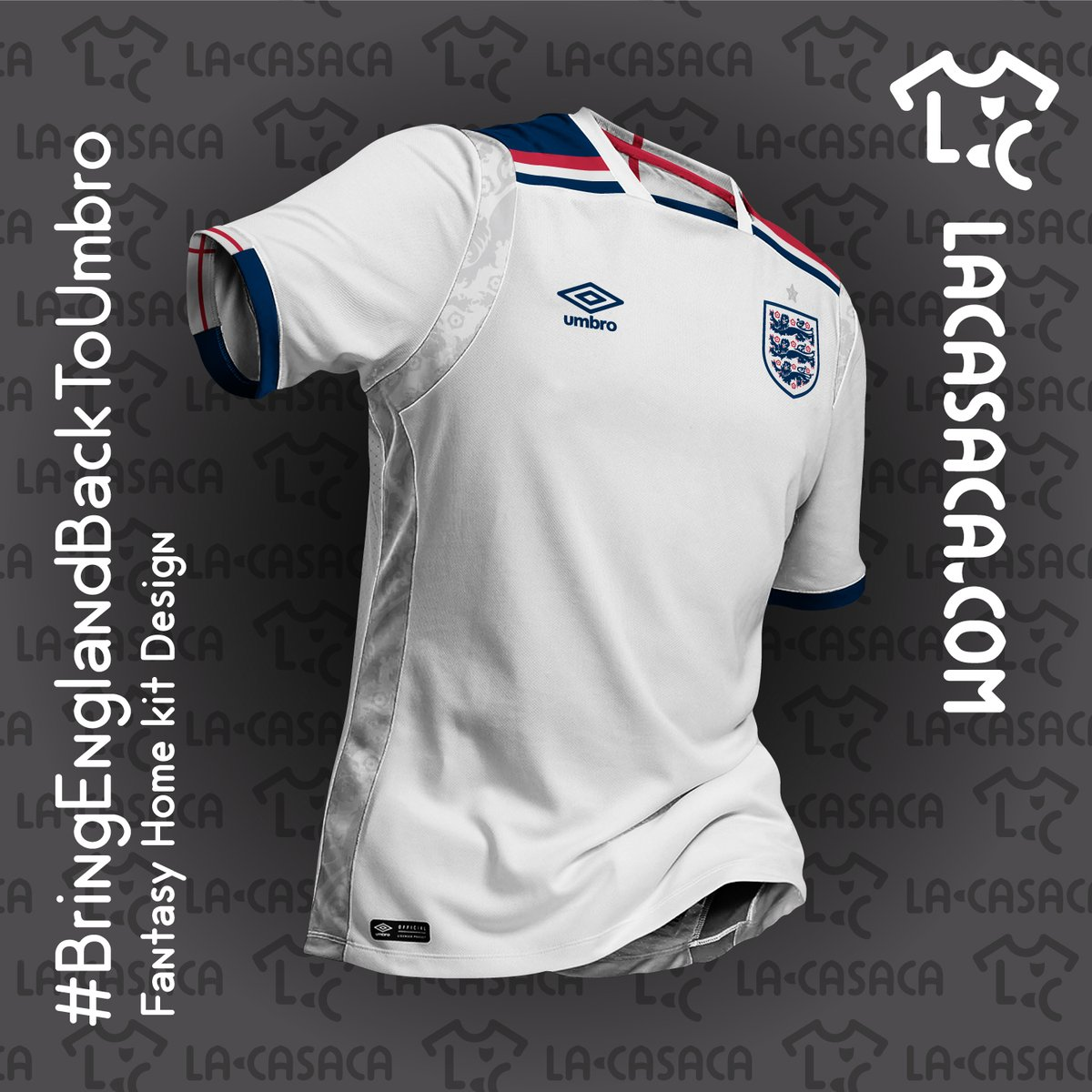 Design a t shirt kit - Inspired By The Famous Admiral England 1982 Kit The Umbro England Concept Kit By La Casaca Is White With A Remarkable Navy And Red Design On The Top Of The