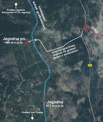 Plan dojścia na grzbiet Gór Bystrzyckich.