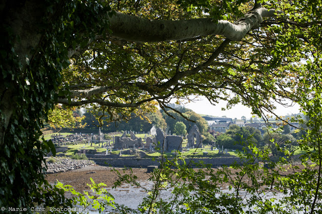A view of the Franciscan Abbey from the River Bank walk in Donegal Town, voted as a top destination in Ireland 2016 by TripAdvisor