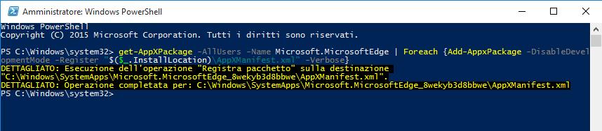 Ripristino Microsoft Edge