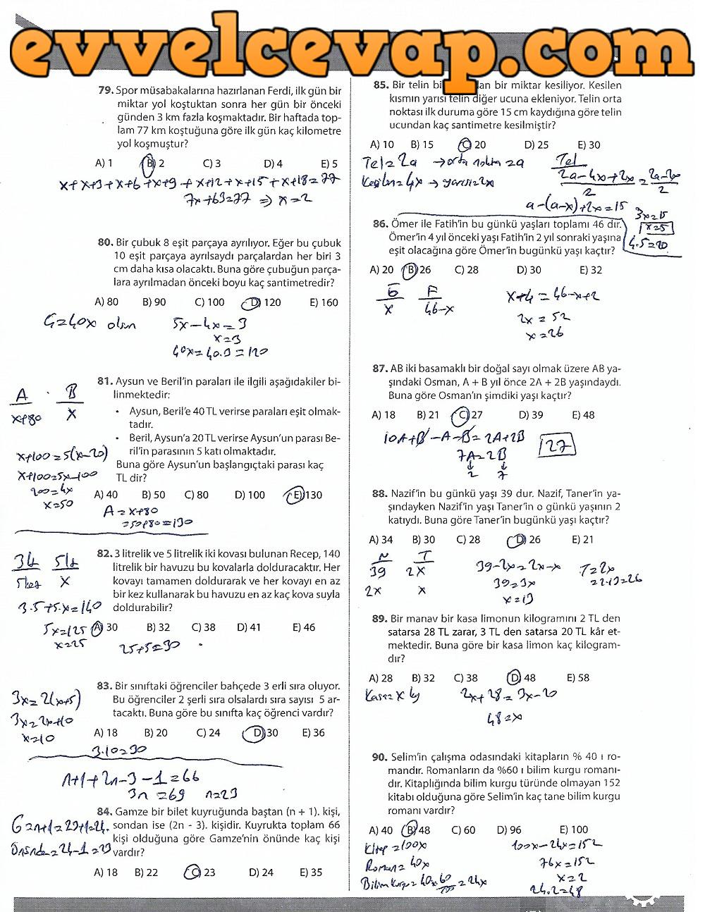 9.Sınıf Matematik MEB Yayınları Ders Kitabı 171.Sayfa Cevapları 3.Ünite Ölçme ve Değerlendirme (2017-2018 Yeni Müfredat)