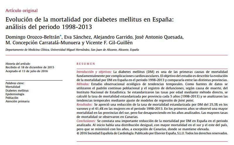 análisis epidemiológico sobre diabetes