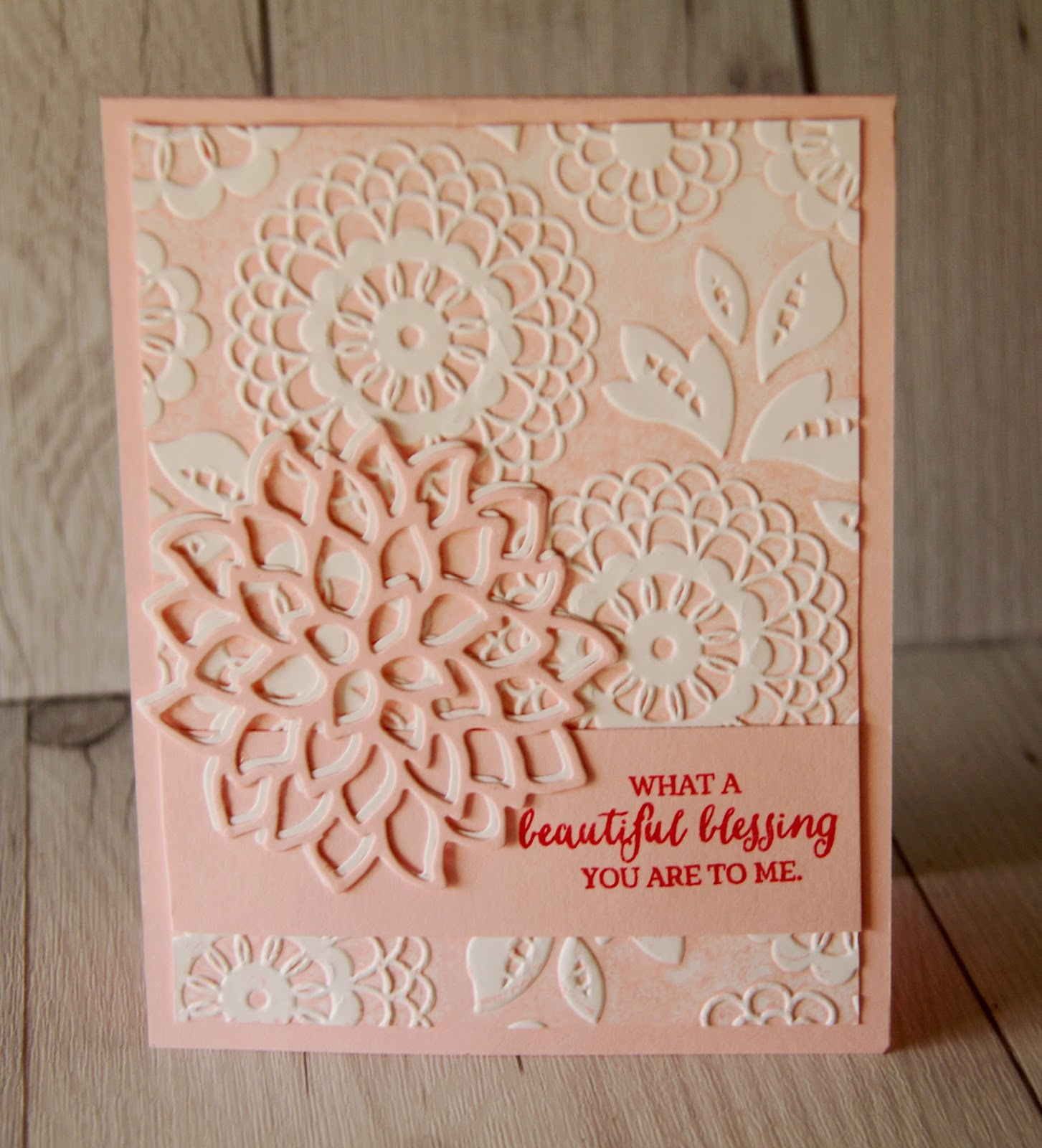 Stamped sophisticates lovely lace embossing folder from stampin up i used three different sentiments all from the rose wonder stamp set i also cut both a whisper white and a pink pirouette flower using the may flowers m4hsunfo