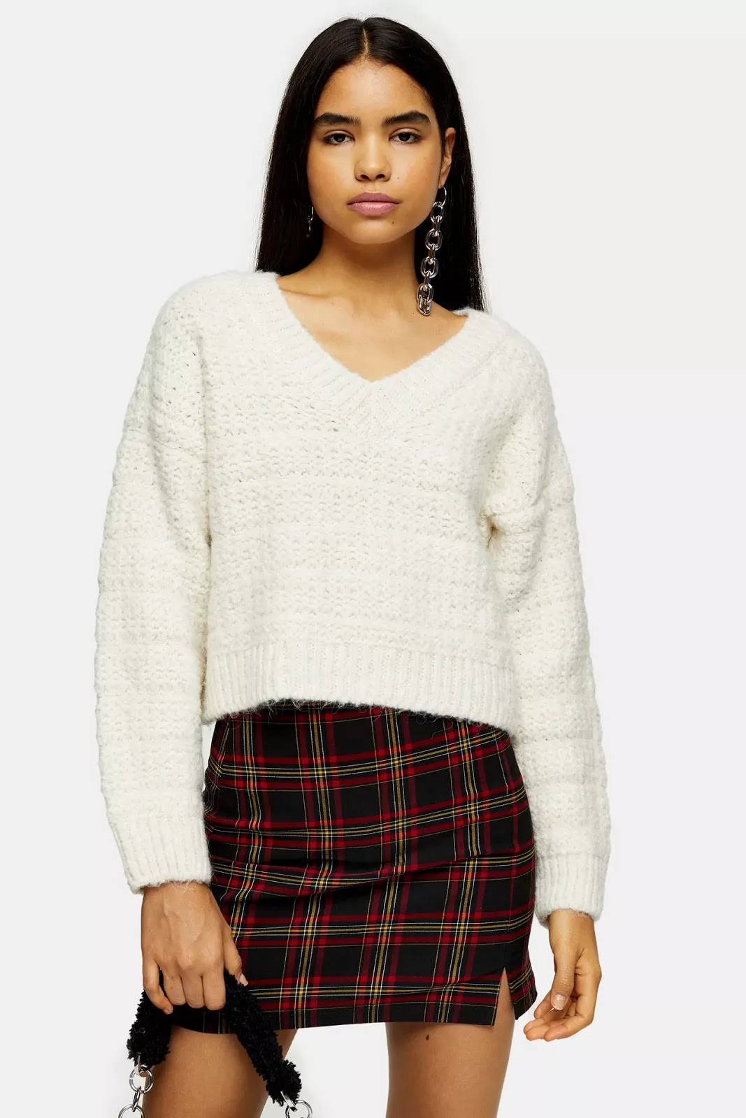 Ivory Cocoon Slouchy V Knitted Jumper
