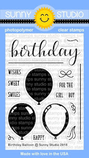 Sunny Studio Stamps: Introducing Birthday Balloon 3x4 Clear Layering Stamps