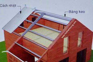 Miêu tả cách cố định tấm mút cách nhiệt PE OPP 1 mặt bạc trên hệ thống đòn tay bằng băng keo hoặc đinh mũ