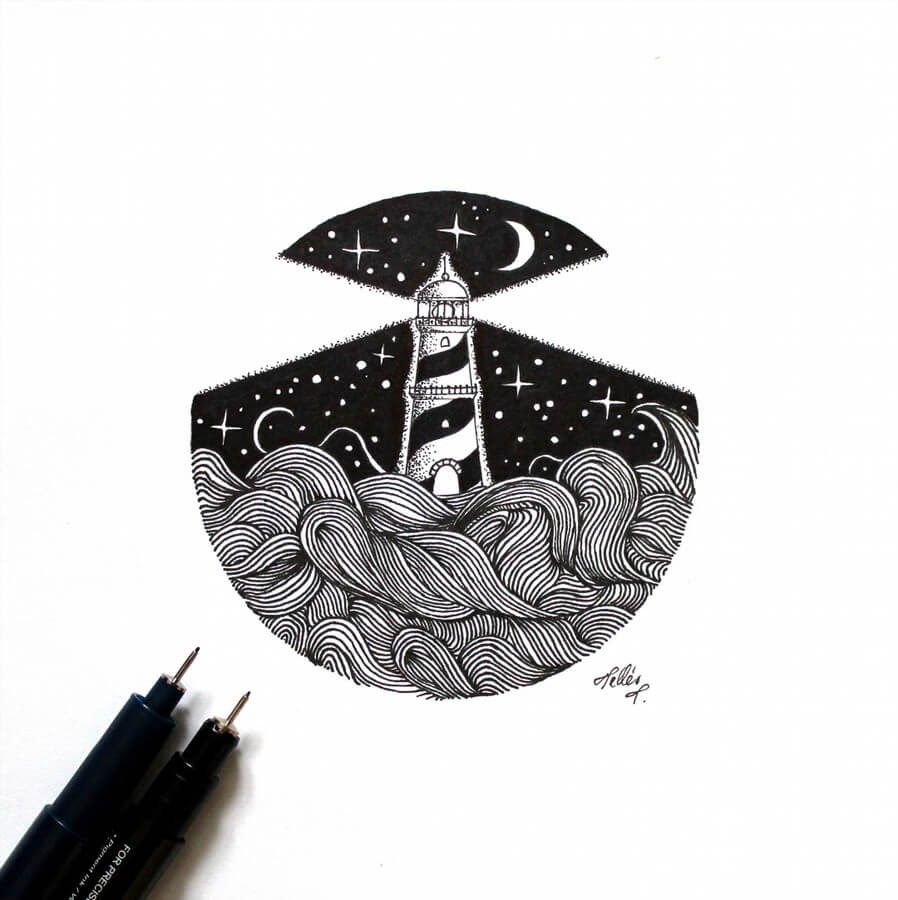 09-Lighthouse-Tímea-Tellér-Ink-Black-and-White-Illustrations-www-designstack-co