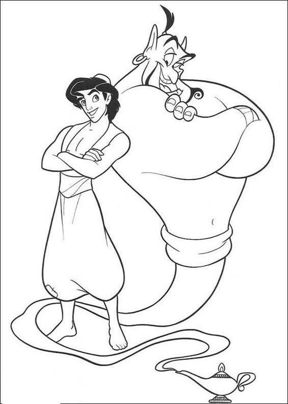 Tranh tô màu Aladin và thần đèn vui vẻ
