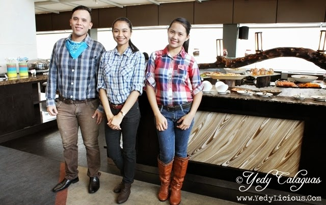 Friendly Food Attendants United Taste of America Buffet at F1 Hotel Manila