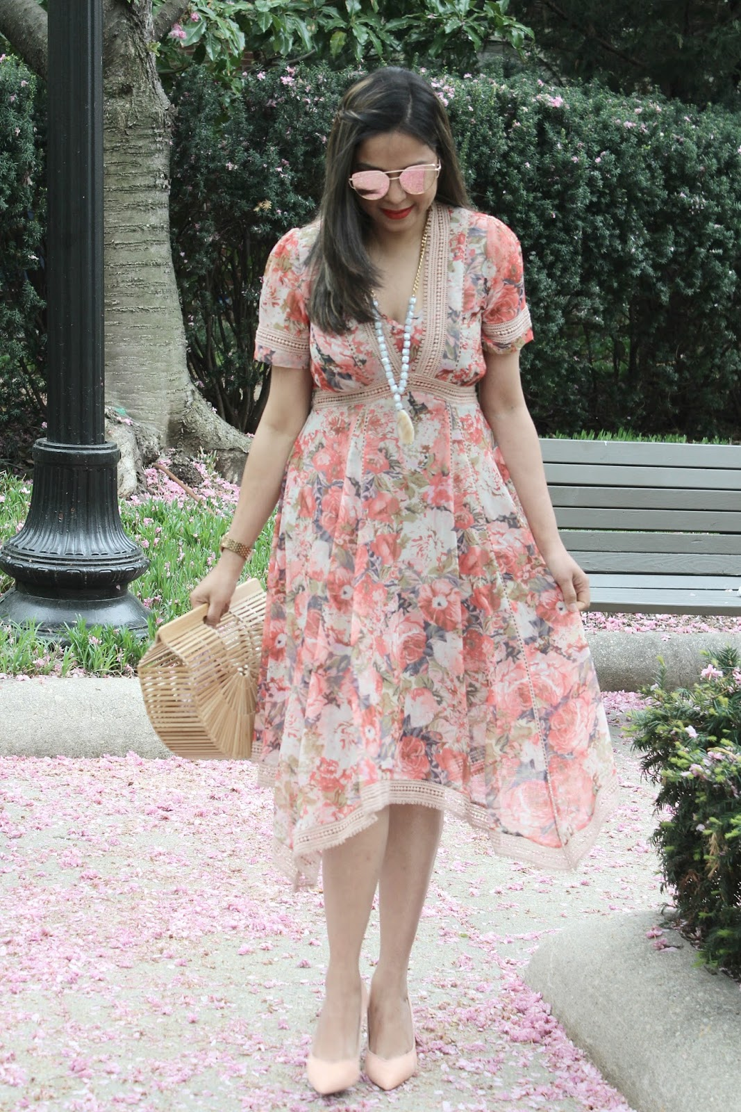 wearing a floral handkerchief hem, anthropologie dress, street style, floral, spring style.fashion blogger, myriad musings, ootd, saumya, outfit, orange dress, orange pumps