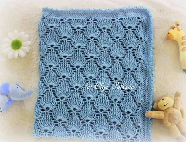 Crochet Baby Blanket Lace Pattern : Lacy Crochet: Blue Lace Baby Blanket