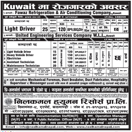 Jobs in Kuwait for Nepali, Salary Rs 51,820