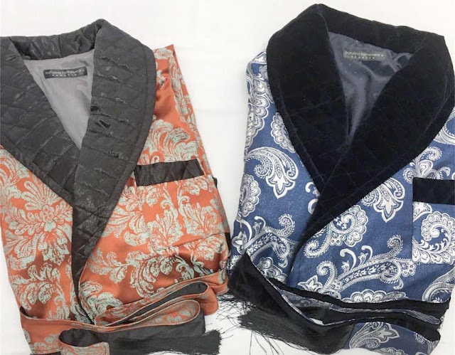 mens long paisley dressing gown quilted silk collar velvet traditional bespoke english smoking jacket robe