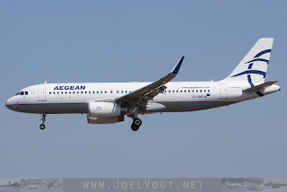 Airbus A320 of Aegean Airlines at Barcelona El Prat