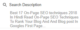 On-Page SEO, Techniques, In Hindi, 2018, How To, Free, SEO, Blogger, Search Description,