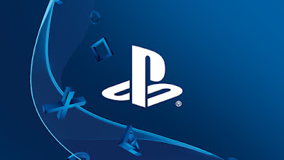 logo playstation em fundo azul escuro