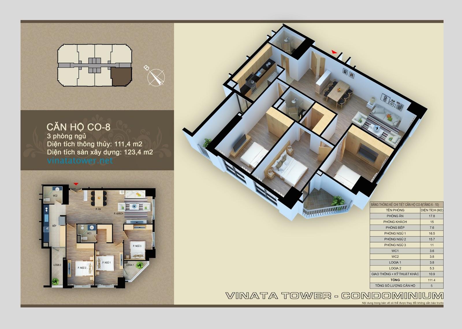 Thiết kế căn hộ 08 chung cư Vinata Towers: 111,4m2, 3PN, 2VS