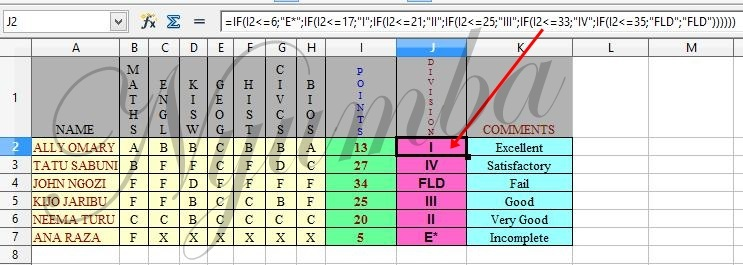 NYUMBA: HOW TO FIND DIVISION GRADE OF DATA [SCORES] IN EXCEL