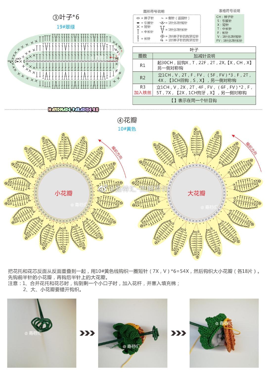 Схемы вязания листьев и лепестков подсолнуха