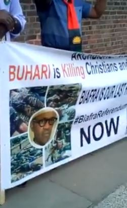POB members protesting in London against Buhari