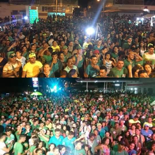 Multidão lota as ruas de Rafael Fernandes durante comício da vigília dos candidatos Dr. Bruno e Sérgio