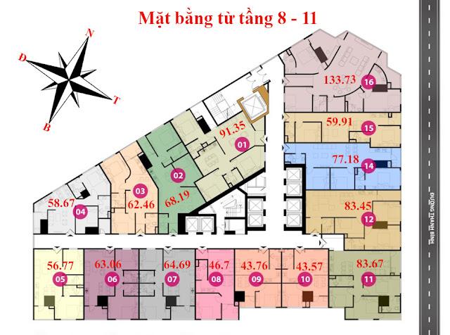Mặt bằng tầng 8 - 11 - Chung cư Tháp doanh nhân