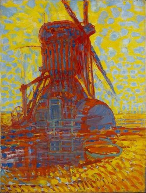 Moinho ao Sol, pintura de Piet Mondrian #PraCegoVer