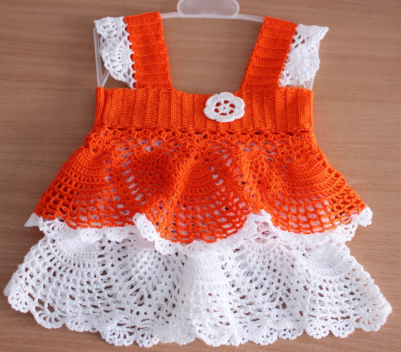 Beautiful crochet pattern baby dress in orange and white ...
